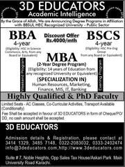 MBA,  BBA & BS(CS) Only For Rs.4000/Month Offers By 3D Educators