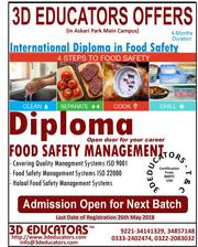 Diploma in Food Safety managment course offerd by 3D Educators