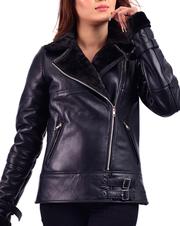 Black Shearling Womens Biker Leather Jacket